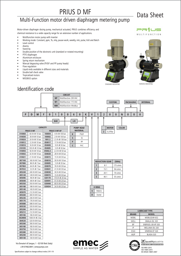 emec | PRIUS D MF Multi-Function Motor Driven Diaphragm Metering Pump